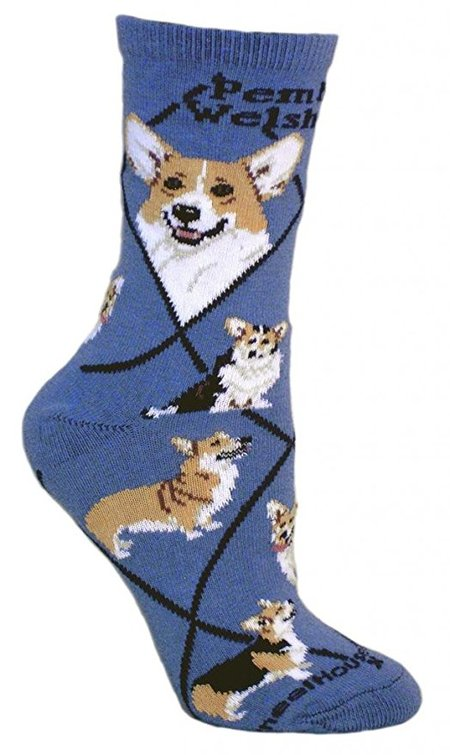 Pembroke Welsh Corgi Dog Blue Cotton Ladies Socks made in Vermont