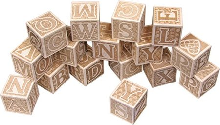 Natural Wooden ABC Blocks made in Vermont