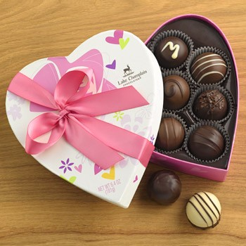 Traditional Valentine Truffles Heart 8pc made in Vermont